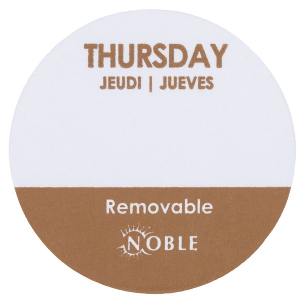 Noble Products Thursday 1 inch Removable Day of the Week Dot Label - 1000/Roll