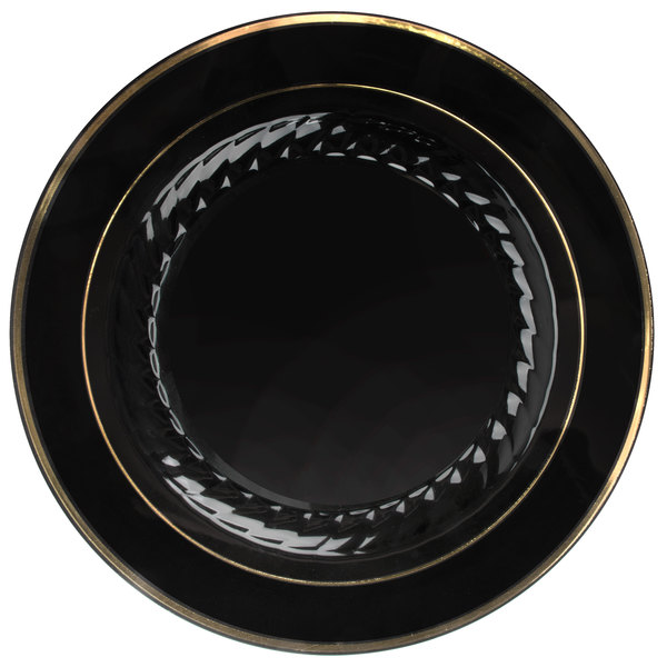 Fineline Silver Splendor 510-BKG 10 inch Black Plastic Plate with Gold Bands - 120/Case