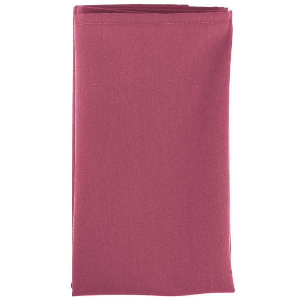 20 inch x 20 inch Mauve 100% Polyester Hemmed Cloth Napkin - 12/Pack