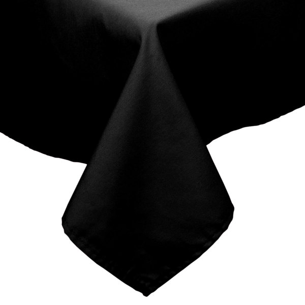 72 inch x 72 inch Black 100% Polyester Hemmed Cloth Table Cover