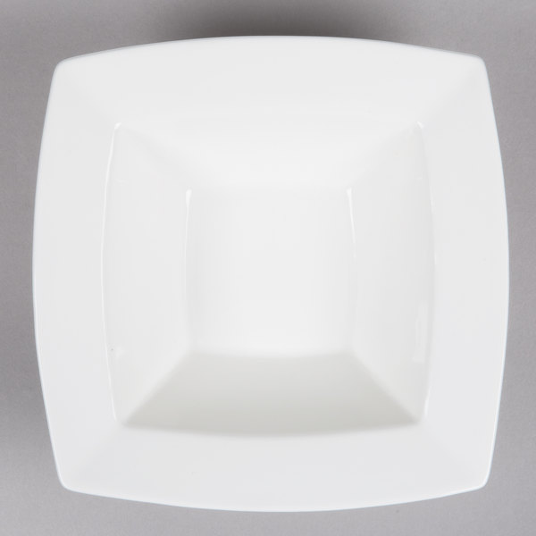Bone White 9 1/4 inch Deep Square China Bowl - 12/Case
