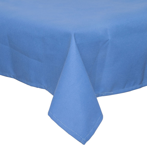 54 inch x 120 inch Light Blue Hemmed Polyspun Cloth Table Cover