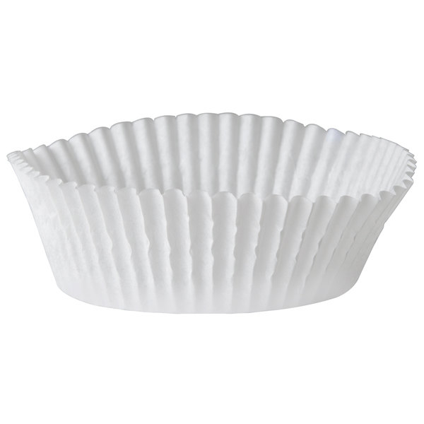 White Fluted Baking Cup 3 inch x 1 1/4 inch - 10000/Case
