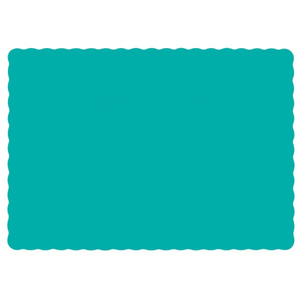Hoffmaster 310527 10 inch x 14 inch Teal Colored Paper Placemat with Scalloped Edge - 1000/Case