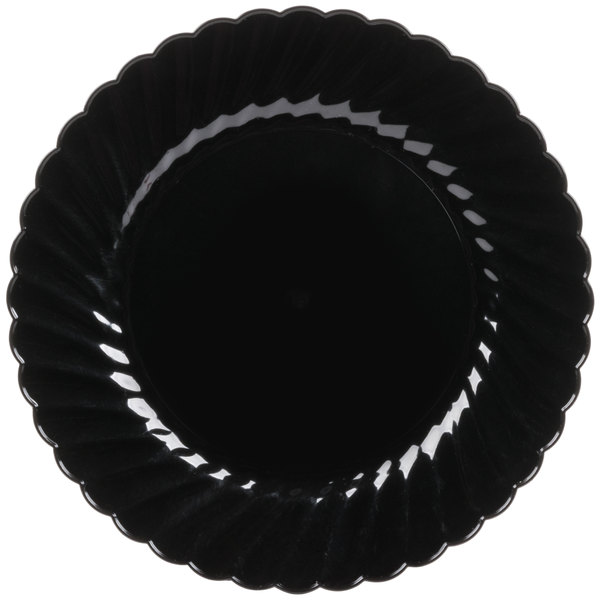 WNA Comet CW75180BK Classicware 7 1/2 inch Black Plastic Plate - 18/Pack