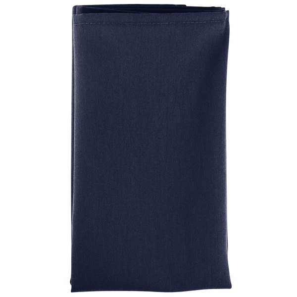 20 inch x 20 inch Navy Blue Hemmed Polyspun Cloth Napkin - 12/Pack