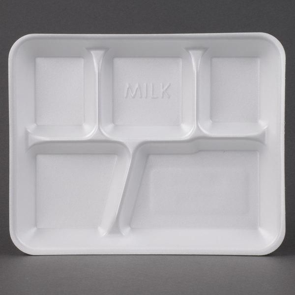 Genpak 10500W 10 3/8 inch x 8 3/8 inch x 1 3/16 inch 5 Compartment White Foam School Tray 125 / Pack
