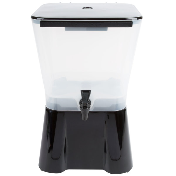 Tablecraft 953 3 Gallon Square Black Beverage / Juice Dispenser