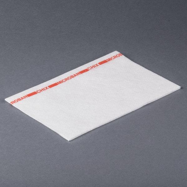 Chicopee 8252 Chix 13 inch x 21 inch White / Red Medium-Duty Microban Foodservice Wiper - 150/Case