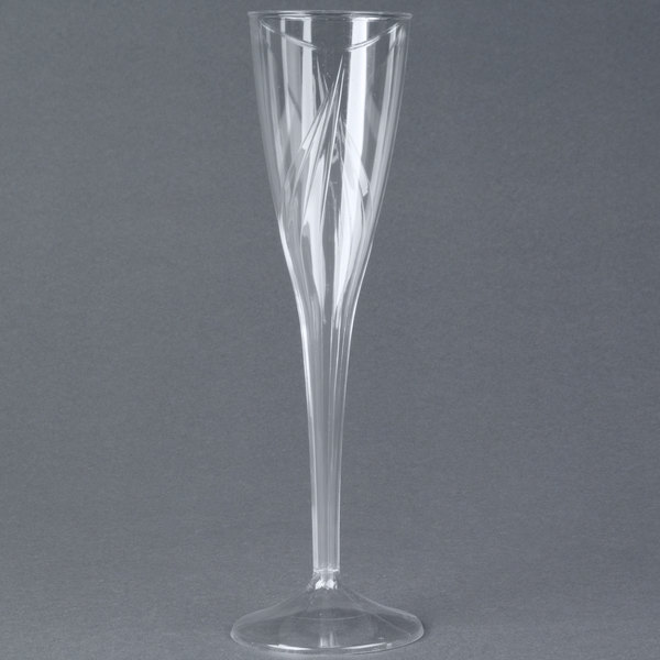 WNA Comet CWSC5 5 oz. Clear Plastic Classicware Champagne Glass - 10/Pack