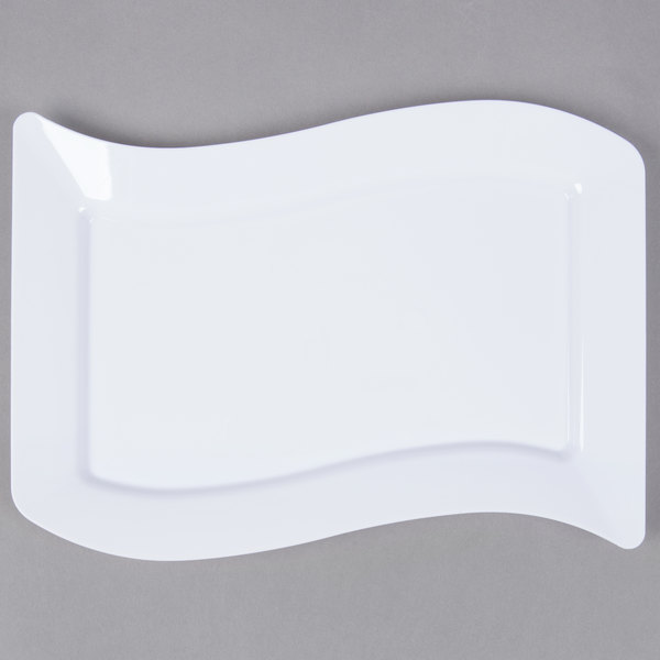 Fineline Wavetrends 1406-WH 6 1/2 inch x 10 inch White Plastic Salad Plate - 120/Case