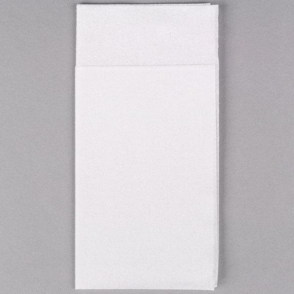 Hoffmaster 066033 15 inch x 17 inch White Quickset Linen-Like Dinner Napkin - 300/Case