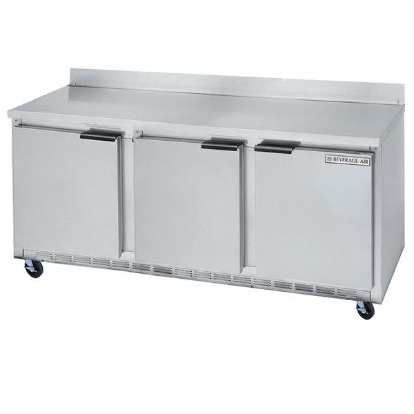 Beverage Air WTR72AY 72 inch Worktop Refrigerator - 3 Doors