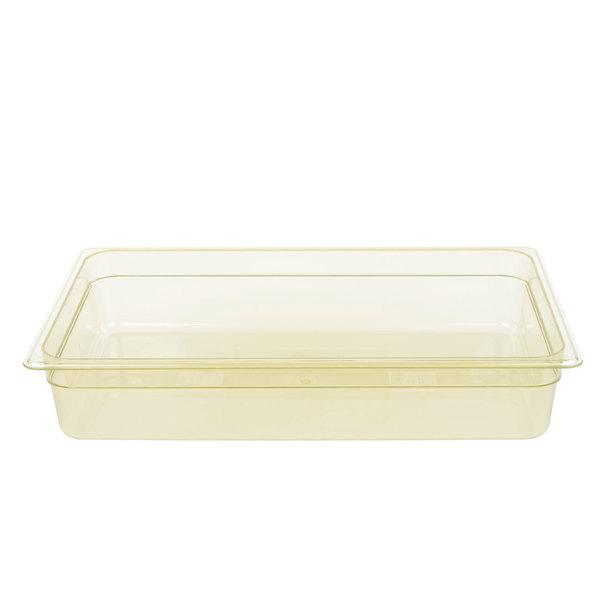 Cambro 14HP150 H-Pan Full Size Amber High Heat Food Pan - 4 inch Deep