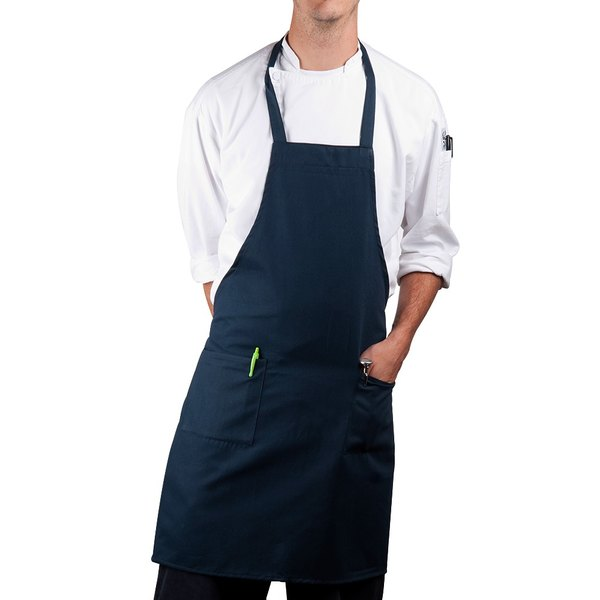 Choice Navy Blue Full Length Bib Apron with Pockets - 30 inchL x 34 inchW