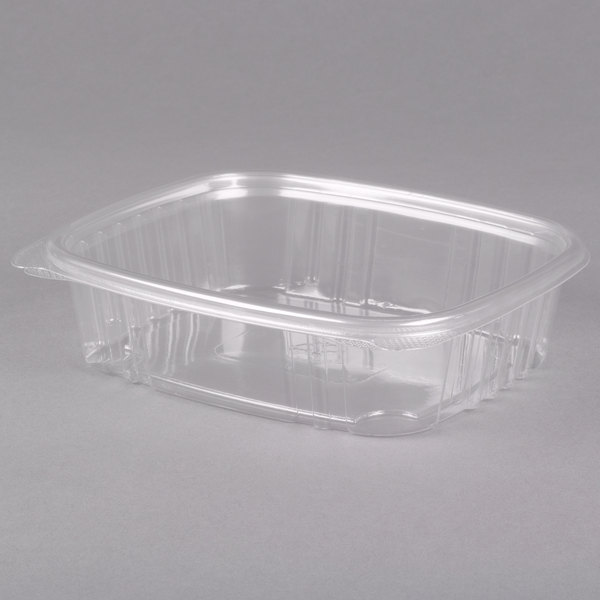 Genpak AD24 7 1/4 inch x 6 3/8 inch x 2 1/4 inch 24 oz. Clear Hinged Deli Container  - 200/Case