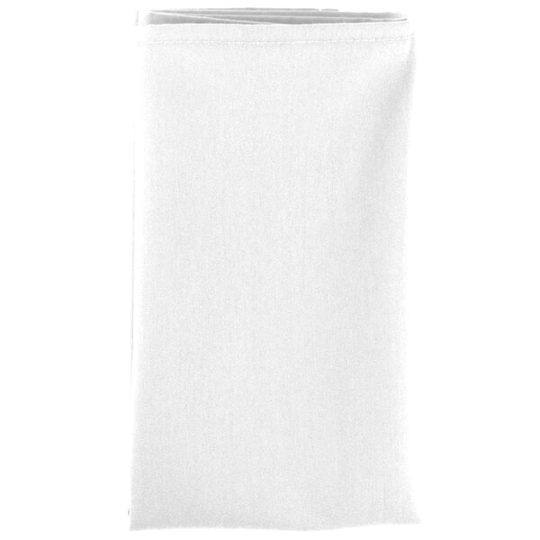 20 inch x 20 inch White 100% Polyester Hemmed Cloth Napkin - 12 / Pack