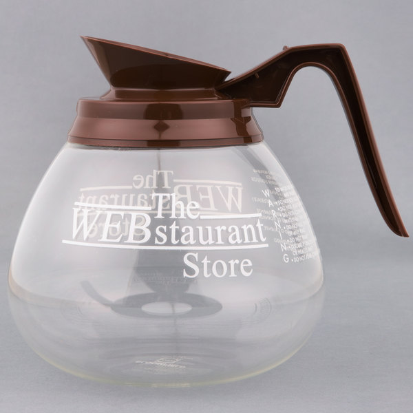 WebstaurantStore Logo 64 oz. Glass Coffee Decanter with Brown Handle