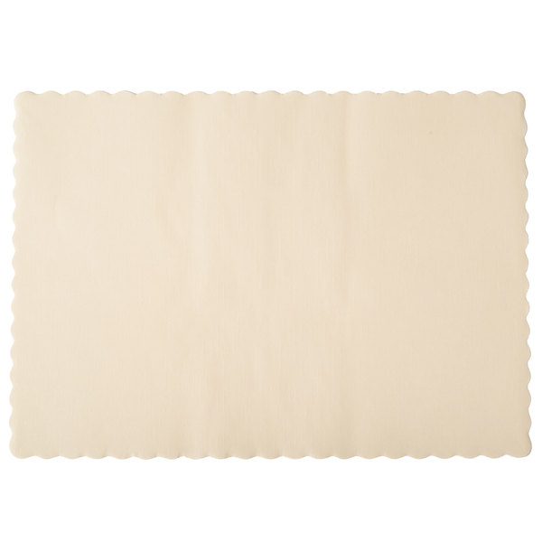Hoffmaster 310522 10 inch x 14 inch Ecru Colored Paper Placemat with Scalloped Edge - 1000 / Case
