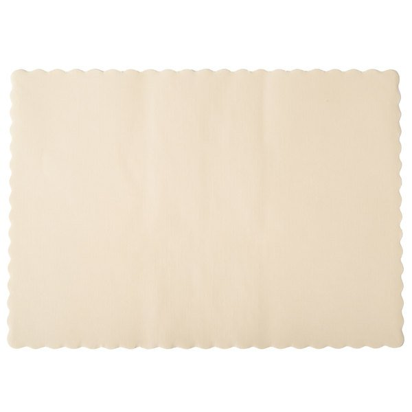 Hoffmaster 310522 10 inch x 14 inch Ecru / Ivory Colored Paper Placemat with Scalloped Edge - 1000/Case