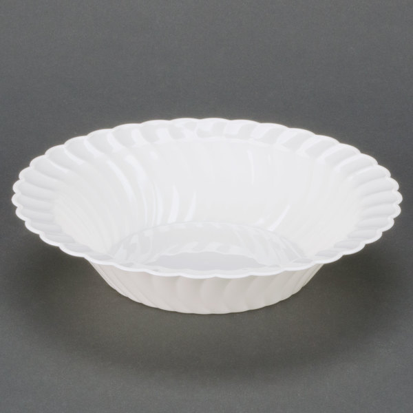 Fineline Flairware White 212-WH 12 oz. Plastic Bowl - 18/Pack