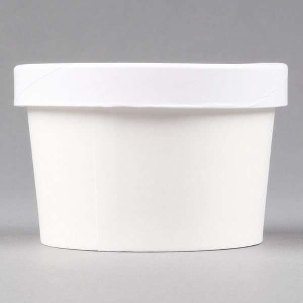 Choice 8 oz. Double-Wall Poly White Paper Soup / Hot Food Cup with Vented Paper Lid  - 250/Case