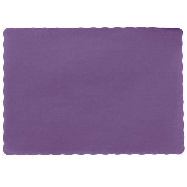 10 inch x 14 inch Purple Colored Paper Placemat with Scalloped Edge - 1000/Case