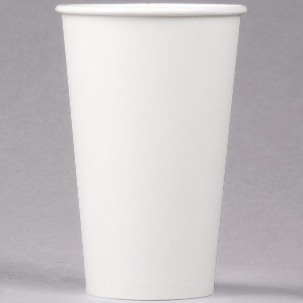 Dart Solo 316W-2050 16 oz. White Poly Paper Hot Cup - 1000/Case