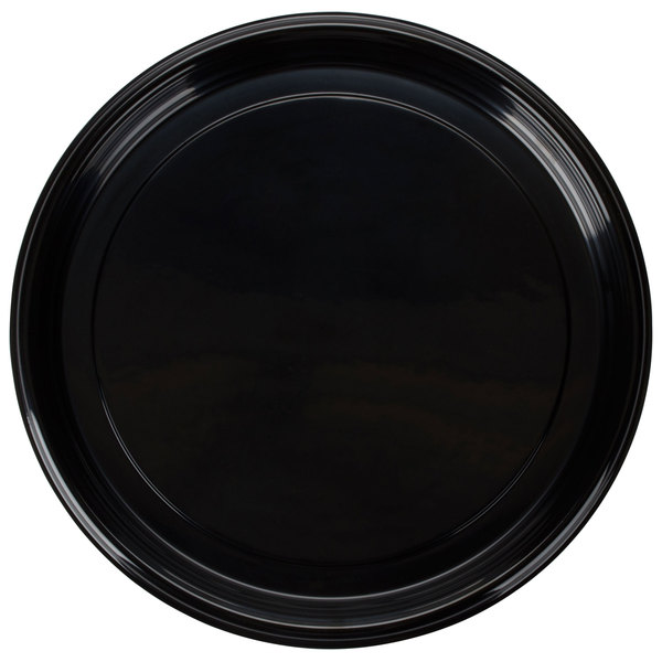Fineline Platter Pleasers 7810TF PET Plastic Black Thermoform 18 inch Catering Tray 25 / Case