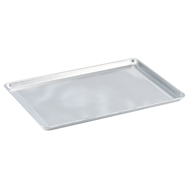 Vollrath Wear-Ever 9002P Perforated Full Size 18 Gauge Aluminum Bun / Sheet Pan - Wire in Rim, 18 inch x 26 inch
