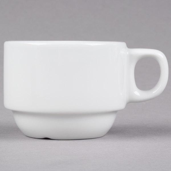 Tuxton ALF-0303 Alaska 3 oz. Bright White Stackable China Demi Cup - 36/Case