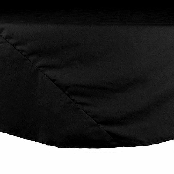 132 inch Black Round Hemmed Polyspun Cloth Table Cover