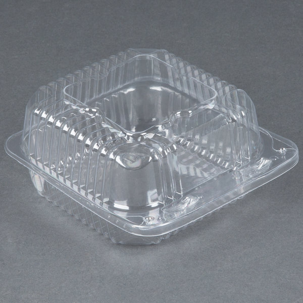 Durable Packaging PXT-505 Duralock 5 inch x 5 inch x 3 inch Clear Hinged Lid Plastic Container - 500/Case