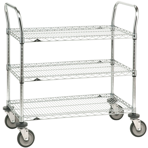 Metro 3SPN53DC Super Erecta Chrome Three Shelf Heavy Duty Utility Cart with Polyurethane Casters - 24 inch x 36 inch x 39 inch