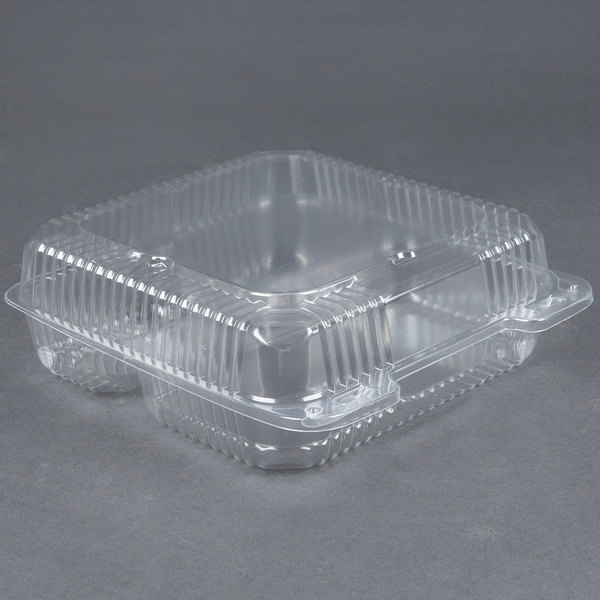 Durable Packaging PXT-933 Duralock 9 inch x 9 inch x 3 inch Three Compartment Clear Hinged Lid Plastic Container - 200 / Case