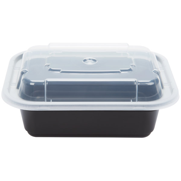 Newspring NC-818-B 12 oz. Black 4 1/2 inch x 5 1/2 inch x 1 3/4 inch VERSAtainer Rectangular Microwavable Container with Lid - 150/Case