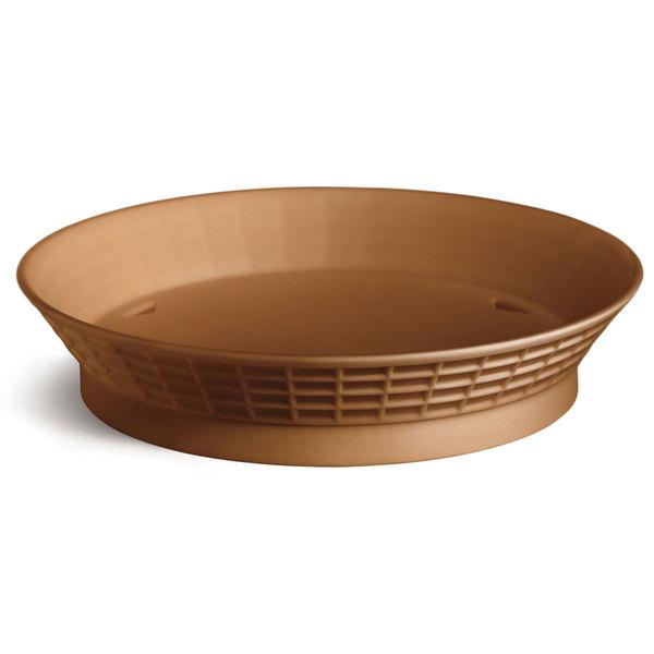 Tablecraft 15759TC 9 inch Terra Cotta Plastic Diner Platter / Fast Food Basket with Base - 12/Pack
