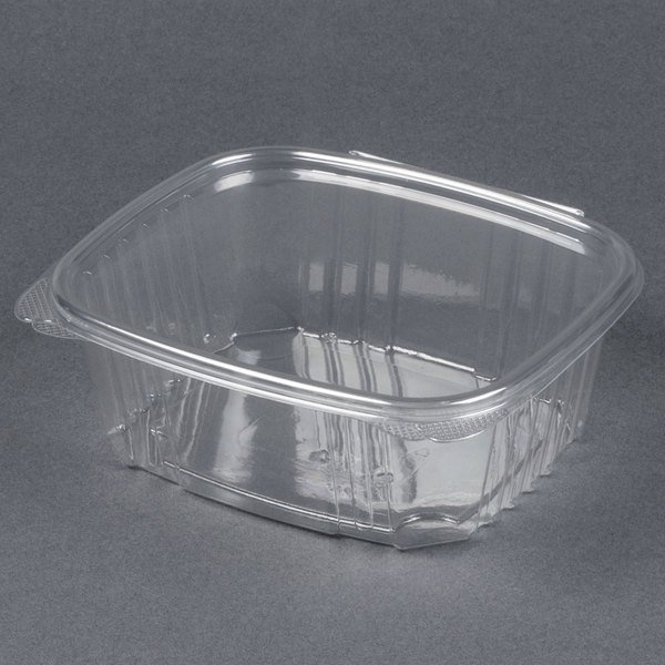 Genpak AD32 7 1/4 inch x 6 3/8 inch x 2 5/8 inch 32 oz. Clear Hinged Deli Container - 200/Case
