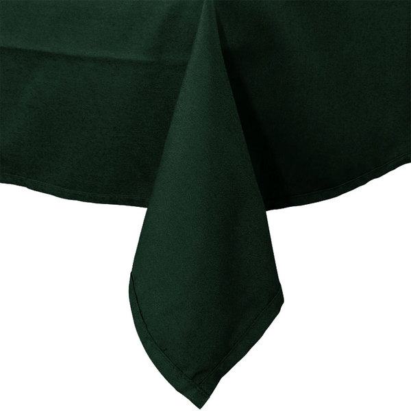 90 inch x 90 inch Forest Green Hemmed Polyspun Cloth Table Cover