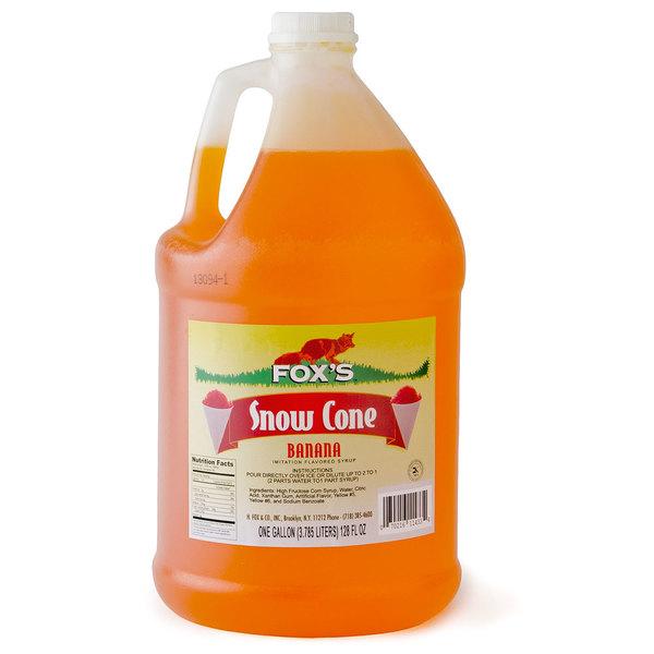 Fox's Banana Snow Cone Syrup 1 Gallon Containers  - 4/Case