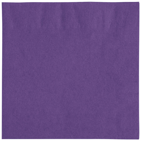 Choice 10 inch x 10 inch Purple 2-Ply Beverage / Cocktail Napkins - 250 / Pack
