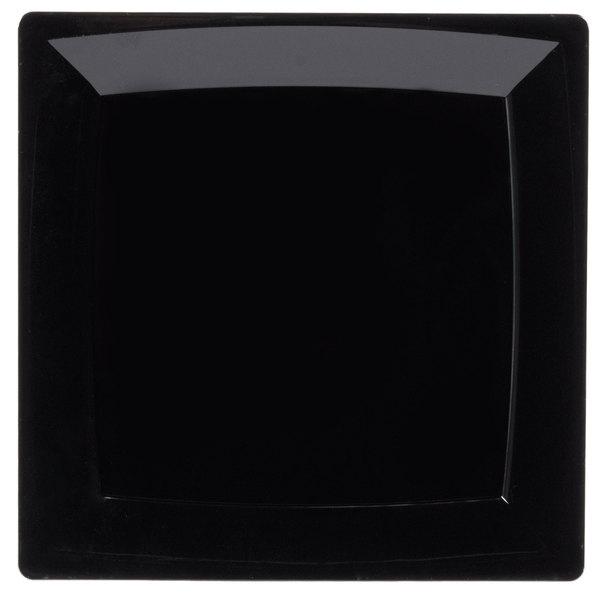 WNA Comet MS10BK 9 1/4 inch Black Square Milan Plastic Plate - 12/Pack