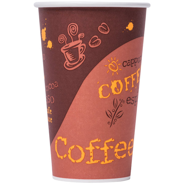 Choice 16 oz. Poly Paper Hot Cup with Coffee Design - 50 / Pack