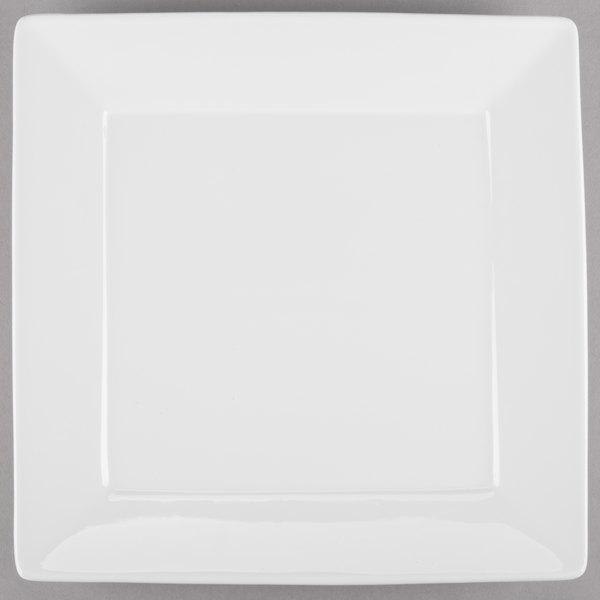 Tuxton BWH-1016 DuraTux 10 1/8 inch White Square China Plate - 12/Case