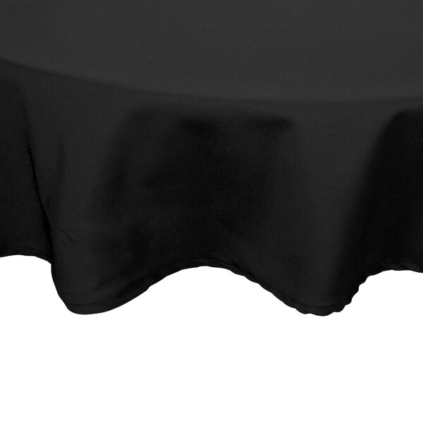 90 inch Round Black 100% Polyester Hemmed Cloth Table Cover