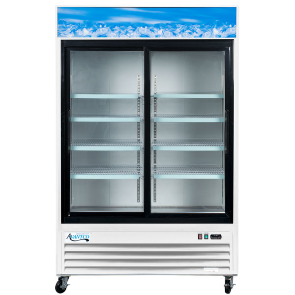 Avantco GDS47 53 inch Sliding Glass Door White Merchandiser Refrigerator with LED Lighting - 45 cu. ft.