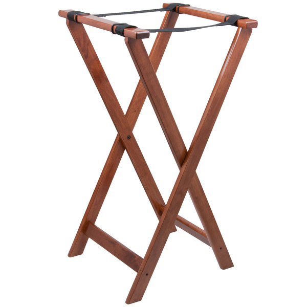 Lancaster Table & Seating 32 inch Folding Wood Tray Stand Light Brown
