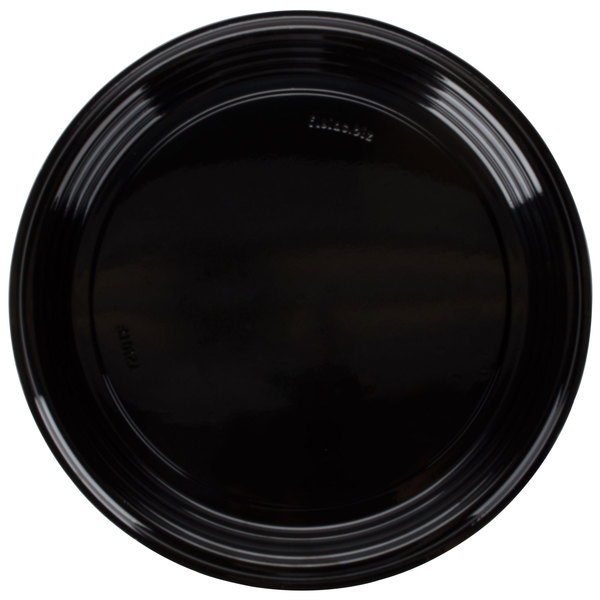 Fineline Platter Pleasers 7210TF PET Plastic Black Thermoform 12 inch Catering Tray 25 / Case