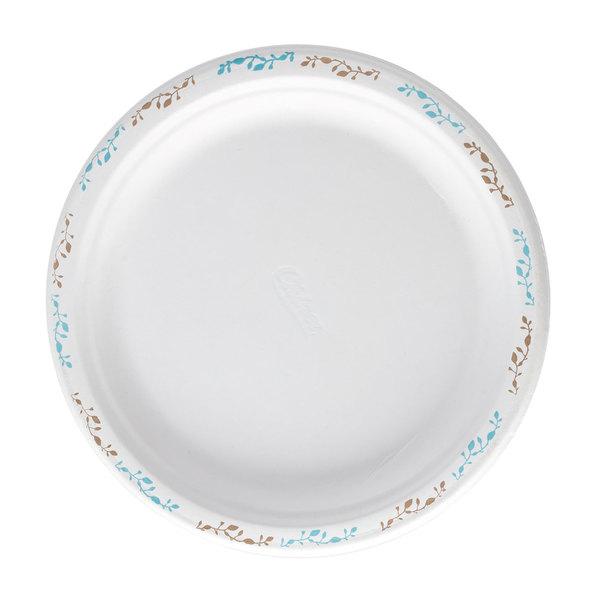 Huhtamaki Chinet 22519 10 1/2 inch Molded Fiber Round Plate with Vines Design - 500/Case