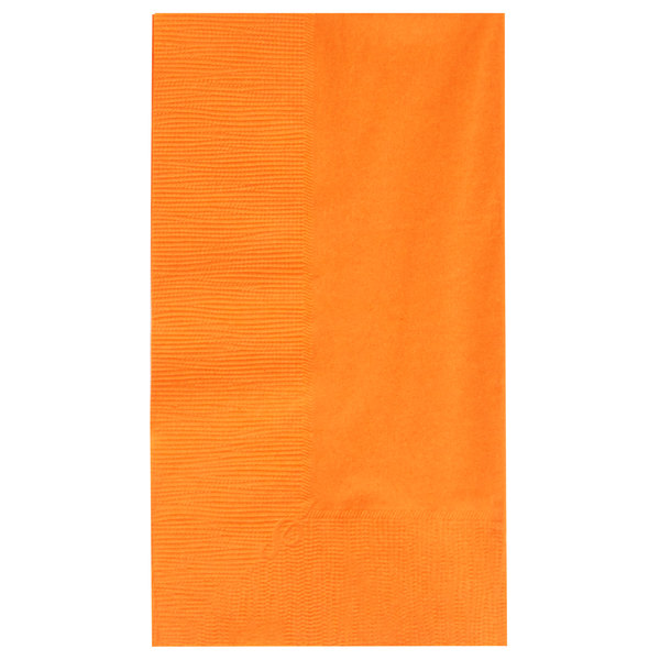 Choice 15 inch x 17 inch Customizable Orange 2-Ply Paper Dinner Napkin  - 1000/Case